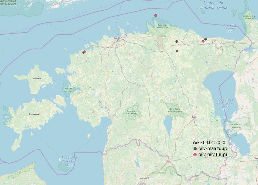 Äikesedetektoriga registreeritud äikeselöögid EestisÄikesedetektoriga registreeritud äikeselöögid Eestis