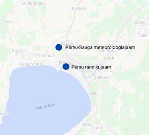 Pärnu-Sauga MJ ja Pärnu RJ asukohad kaardil