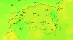 Mudelprognoosi temperatuuriväljad